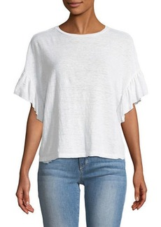 Velvet by Graham & Spencer Doriana Flutter-Sleeve Linen-Blend Tee