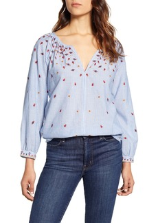 Velvet by Graham & Spencer Velvet Embroidered Pinstripe Cotton Chambray Blouse