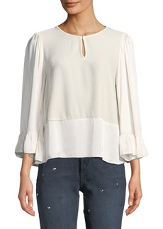 Velvet by Graham & Spencer Velvet-Front Scoop-Neck Satin Top