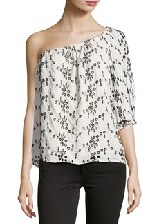 Velvet by Graham & Spencer Velvet Maya One-Shoulder Eyelet Top
