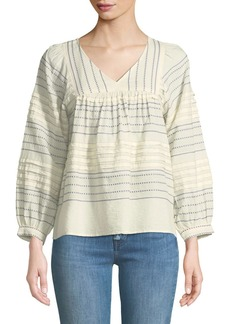 Velvet by Graham & Spencer Piper Embroidered Peasant Top
