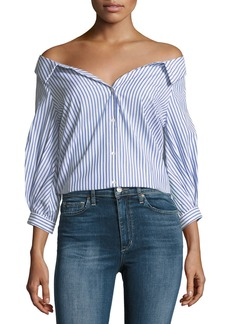 Velvet by Graham & Spencer Velvet Rosetta Off-the-Shoulder Button-Front Striped Poplin Top