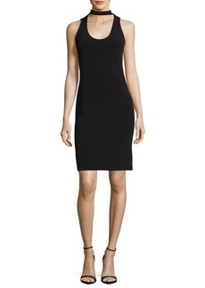 Velvet by Graham & Spencer Velvet Scoop-Neck Velvet Cocktail Dress W/ Choker