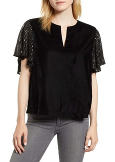 Velvet by Graham & Spencer Tibby Velvet Sequin Sleeve Top