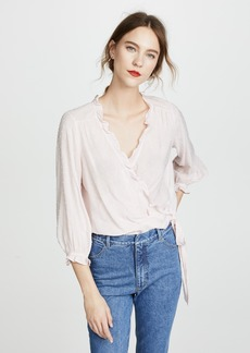 Velvet by Graham & Spencer Velvet Swiss Dot Wrap Top
