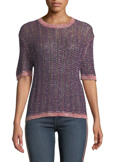 Velvet by Graham & Spencer Zabella Metallic Knit Crewneck Top