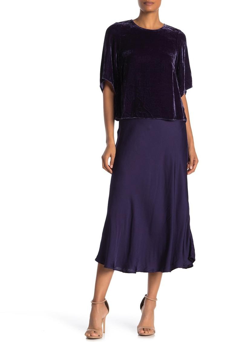 Velvet by Graham & Spencer Zelda Solid Satin A-Line Midi Skirt