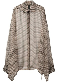 Vera Wang checkered print elongated blouse