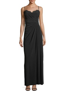 Vera Wang Draped Gown with Lace Detail