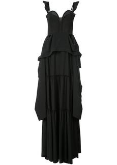 Vera Wang flared ruffle maxi dress