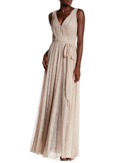 Vera Wang Lavender Sleeveless Lace Gown
