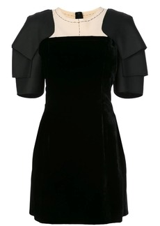 Vera Wang layered shoulder pads flared dress