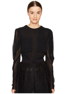 Vera Wang Long Sleeve Blouse with Patch Pocket