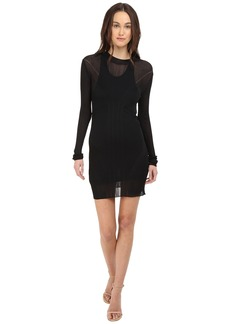 Vera Wang Long Sleeve Ribbed Dress