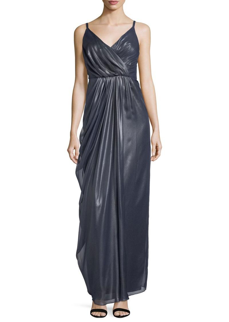 Vera Wang Metallic Chiffon Draped Gown   Dresses