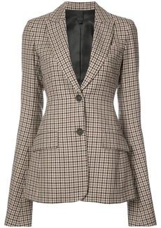 Vera Wang ruffle sleeve checked blazer