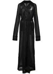 Vera Wang sheer maxi trench coat