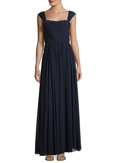 Shirred-Chiffon Sleeveless Gown