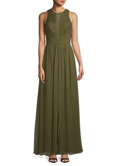 Vera Wang Sleeveless Chiffon Silk Gown