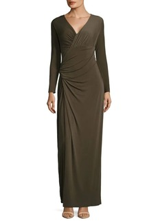 Vera Wang Taupe Ruched Dress