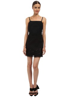 Vera Wang Bib Neck Mini Shift Dress w/ Passementiere