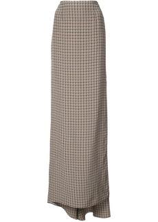 Vera Wang checked side slit skirt - Brown