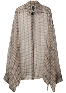 Vera Wang checkered print elongated blouse