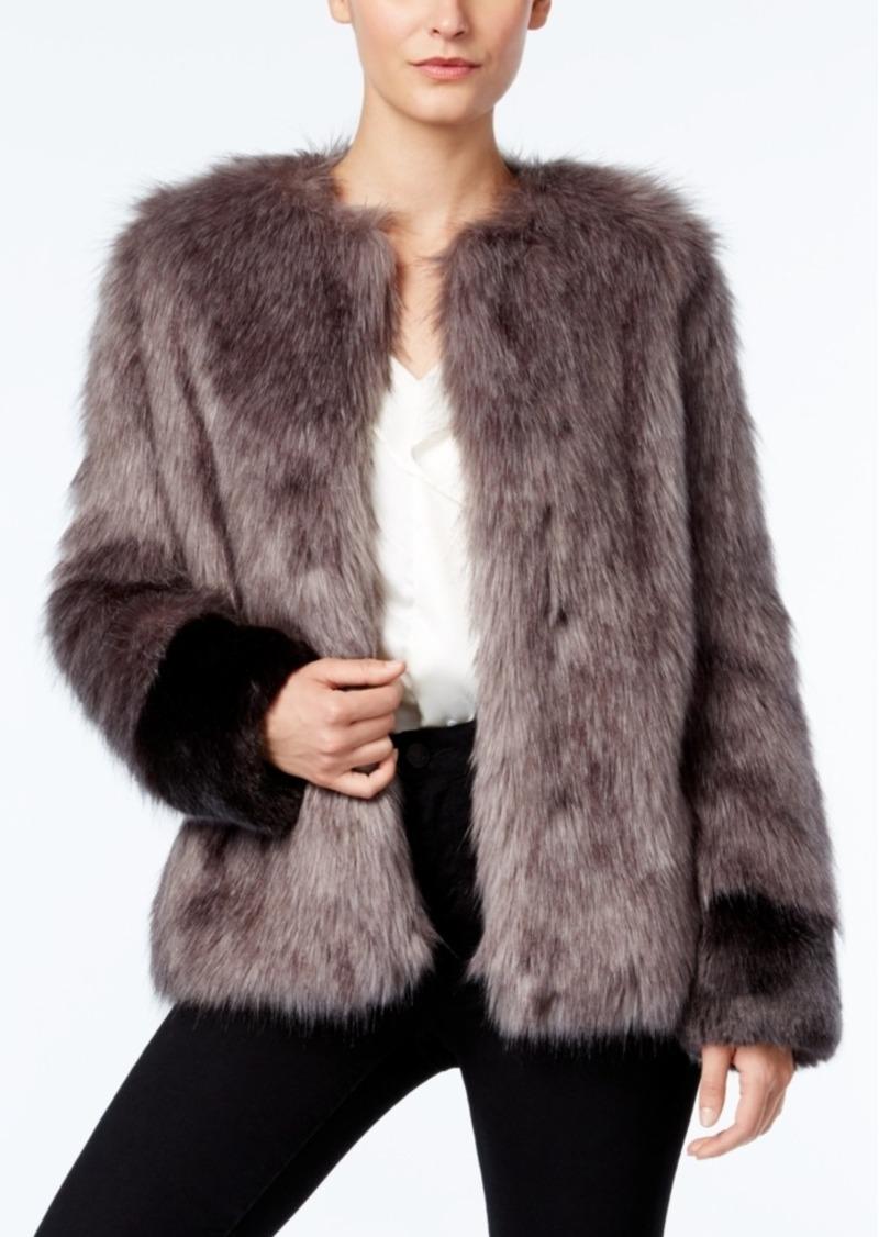 Vera Wang Coat Collarless Faux-Fur Contrast Coat