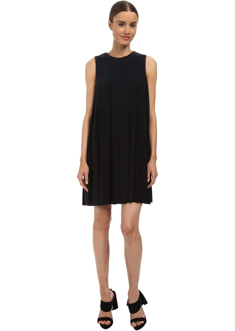 Vera Wang Crepe de Chine Sleeveless Shift Dress w/ Pleat Detail