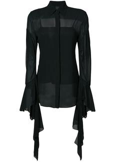Vera Wang draped sleeves sheer shirt - Black