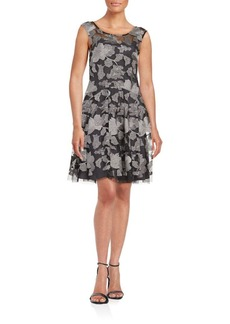 Vera Wang Embroidered Fit-and-Flare Dress