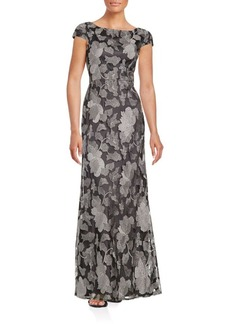 Vera Wang Embroidered Floral Gown