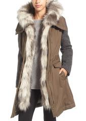 Vera Wang Faux Fur Trim Mixed Media Parka