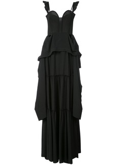 Vera Wang flared ruffle maxi dress - Black
