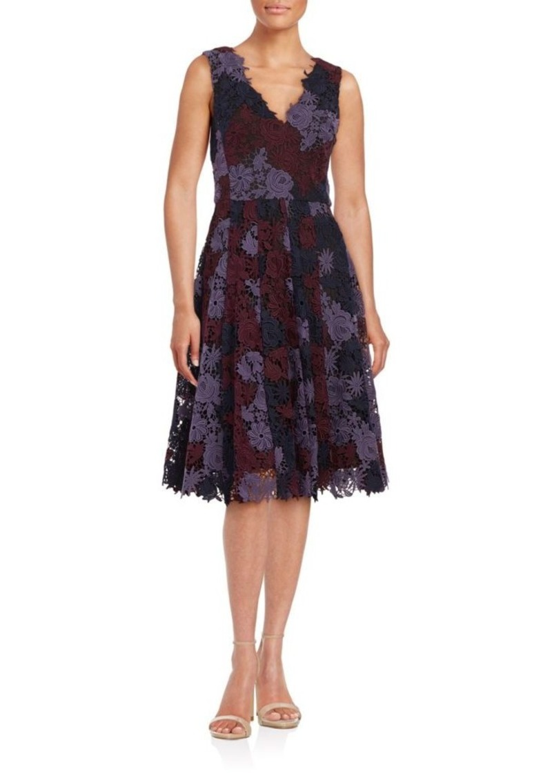 Vera Wang Floral Crochet A-Line Dress