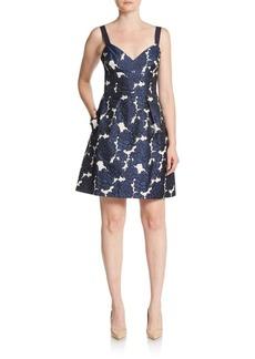 Vera Wang Floral Jacquard Fit-&-Flare Dress