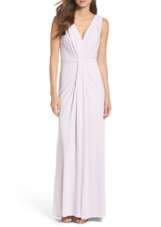 Vera Wang Jersey Pleated Fit & Flare Gown