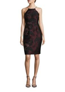 Vera Wang Lace Topped Halterneck Dress