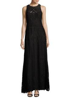 Vera Wang Lace Topped Illusion Dress