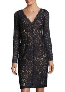 Vera Wang Long-Sleeve Lace Cocktail Dress