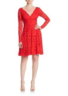 Vera Wang Long Sleeve Lace Fit-&-Flare Dress