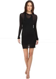 Vera Wang Long Sleeve Ribbed Dress