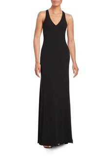 Vera Wang Mesh-Trimmed Gown