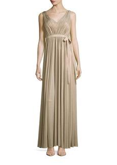 Vera Wang Metallic Sleeveless Gown