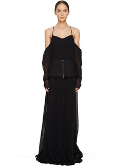 Vera Wang Off the Shoulder Draped Gown with Peplum