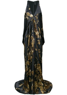 Vera Wang ormalu printed draped gown - Grey