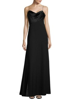 Vera Wang Satin-Trimmed A-Line Gown