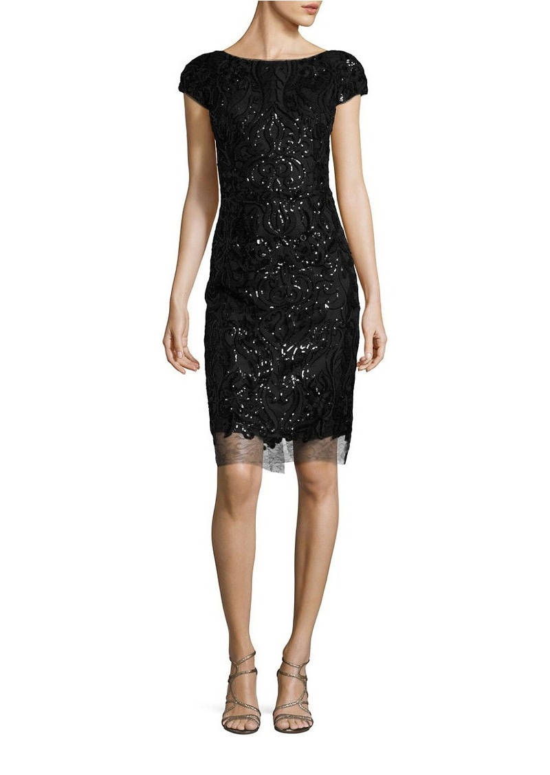VERA WANG Sequin Sheath Dress