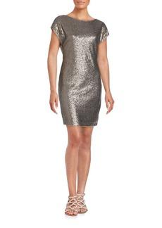 Vera Wang Sequined Cap Sleeve Sheath Dress