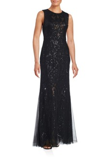 Vera Wang Sequined-Overlay Trumpet Gown